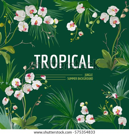 Tropical Palm Leaves and Orchid Flowers Background. Graphic Tshirt Design in Vector