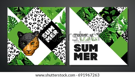 Tropical palm leaves background invitation card stock vector tropical palm leaves background invitation or card design with jungle leaves jaguar and leopard stopboris Images