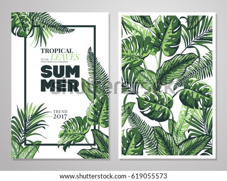 Tropical palm leaves background invitation card stock vector tropical palm leaves background invitation or card design with jungle leaves vector illustration in stopboris Images