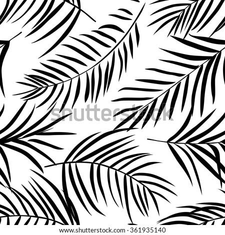 Tropical palm leaves black and white. Seamless pattern - stock vector