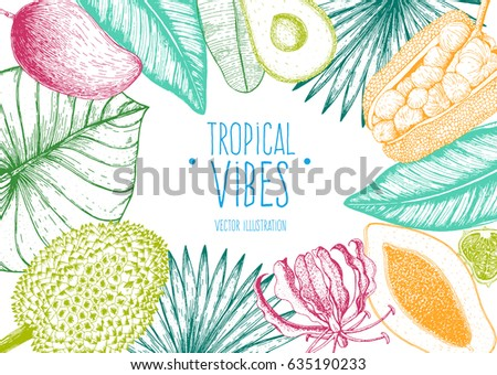 Tropical palm leaves design template. Bright palm leaves and tropical fruits frame. Botanical set vector illustration with jack fruit, mango, durian, papaya and avocado