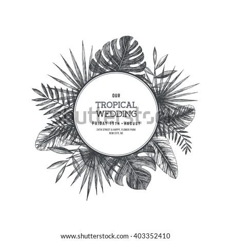 Tropical palm leaves jungle round wedding stock photo photo vector jungle round wedding invitation design template vector illustration stopboris Images