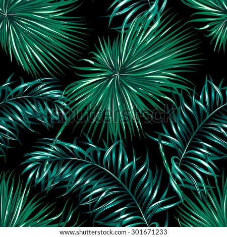 Tropical Palm Leaves Seamless Vector Jungle Floral Pattern Background Wallpaper