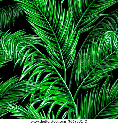 Tropical palm leaves seamless vector jungle floral pattern background, wallpaper - stock vector