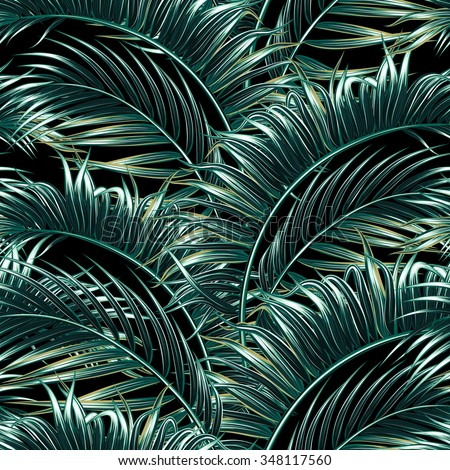 Tropical palm leaves, tree seamless vector floral pattern background - stock vector