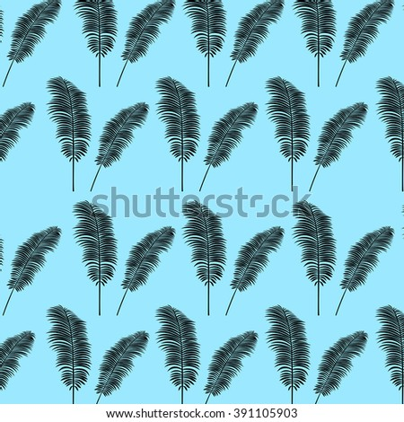 Tropical palm leaves vector background illustration vintage retro jungle pattern
