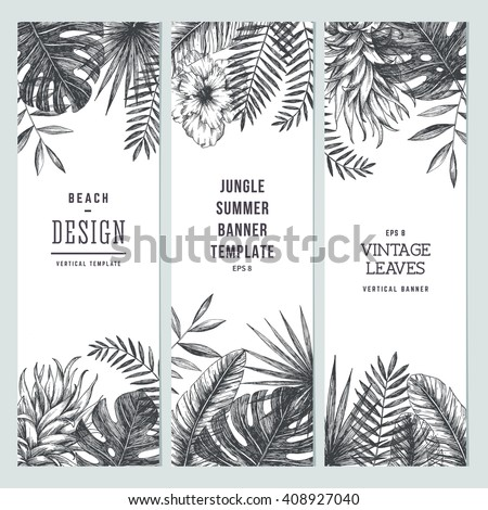Tropical palm leaves. Vertical banner set. Vector illustration - stock vector