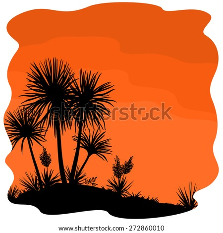 Tropical Palm Trees and Yucca Plants Black Silhouettes on Orange Background. Vector - stock vector