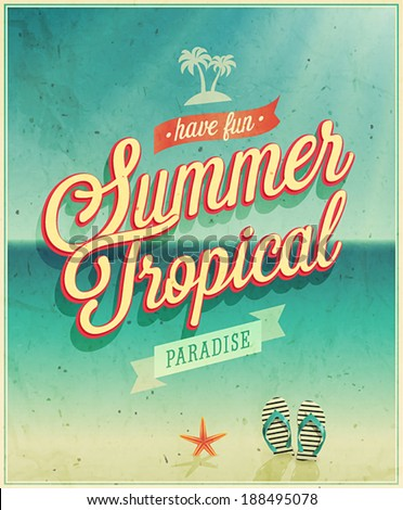 Tropical paradise poster. Vector illustration. - stock vector