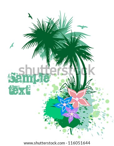 Tropical paradise. Vector palms and plumeria flowers - stock vector