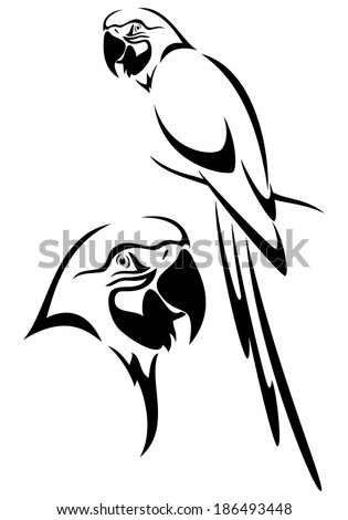 tropical parrot and bird head black and white vector outline - stock vector