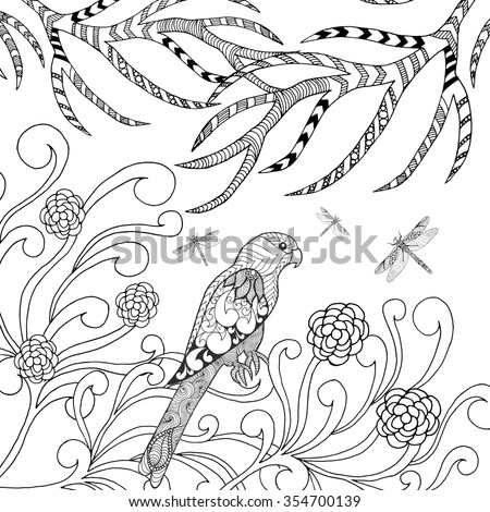 Tropical Parrot Bird Coloring Page Animals Hand Drawn Doodle Ethnic Patterned Illustration