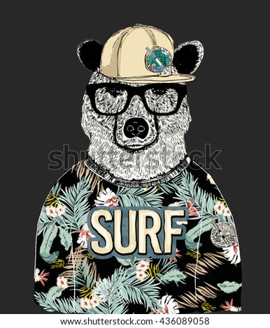 tropical pattern dressed bear illustration 2