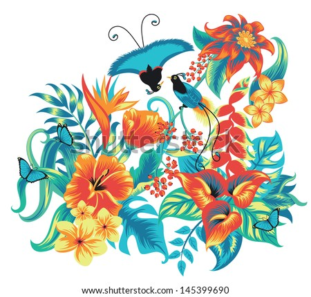 Tropical pattern with birds. - stock vector
