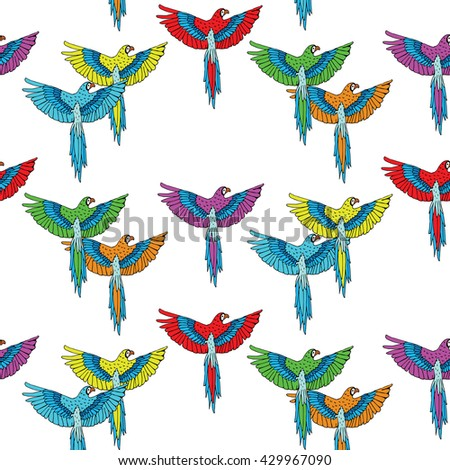 Tropical  Pattern with colorful parrots macaw - stock vector
