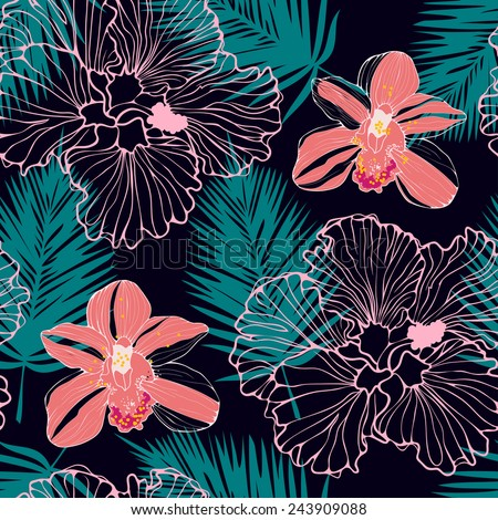 tropical pattern with pink orchids and palm leaves, seamless background - stock vector