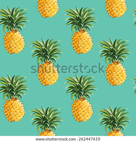 Tropical Pineapples Background - Seamless Pattern - in vector - stock vector