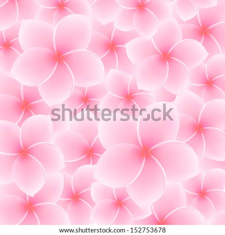 Tropical Pink Plumeria, Frangipani pattern (background) - Asian flower. Summer (spring) vacation symbol (Hawaii, Bali, Thailand etc.). Vector Illustration - stock vector