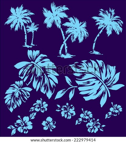 tropical plant and flower - stock vector