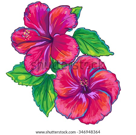 Tropical plants isolated on white. Hibiscus red flower and leaves. Vector illustration. - stock vector