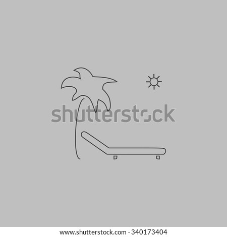 Tropical resort beach. Sunbed Chair. Outlne vector icon on grey background - stock vector
