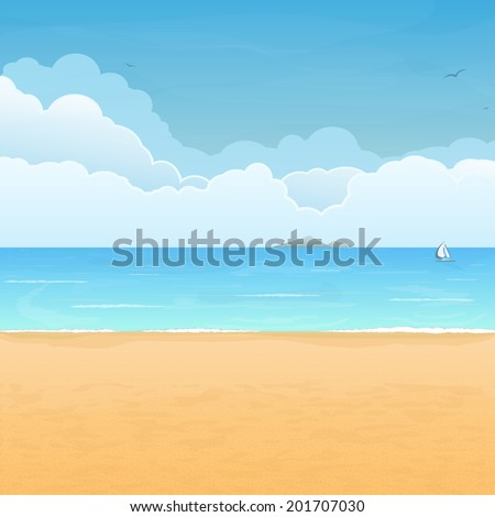 Tropical sand beach, boat in sea, mountain island on horizon and clouds on background - stock vector