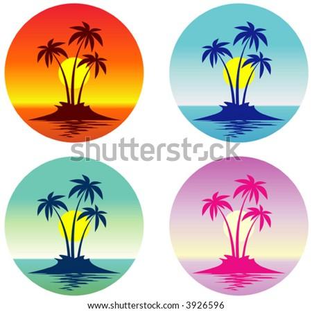 Tropical scene (Vector) - stock vector