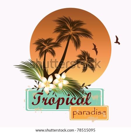 Tropical scene .Vector illustration - stock vector