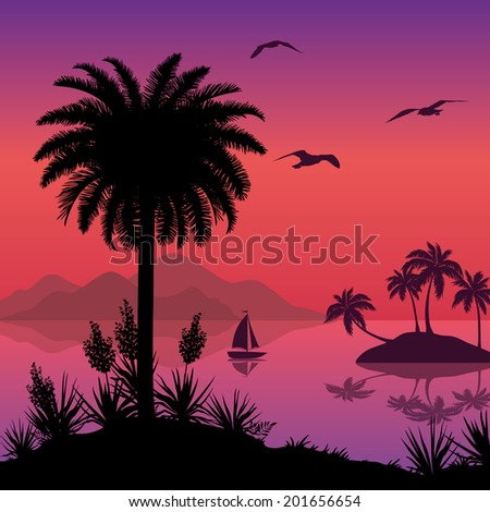 Tropical sea landscape, black silhouettes islands with palm trees and flowers, ship and birds gulls. Eps10, contains transparencies. Vector - stock vector
