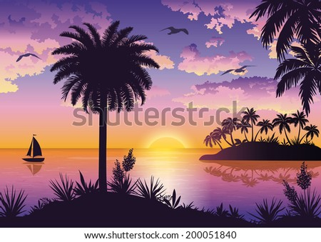 Tropical sea landscape, black silhouettes islands with palm trees and flowers, ship, sky with clouds, sun and birds gulls. Eps10, contains transparencies. Vector - stock vector