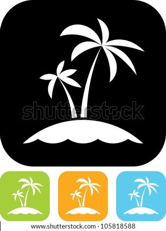 Tropical sea small island - Vector icon isolated - stock vector