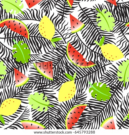 Tropical seamless background with palm leaves, watermelon slices and lemons. Vector illustration.