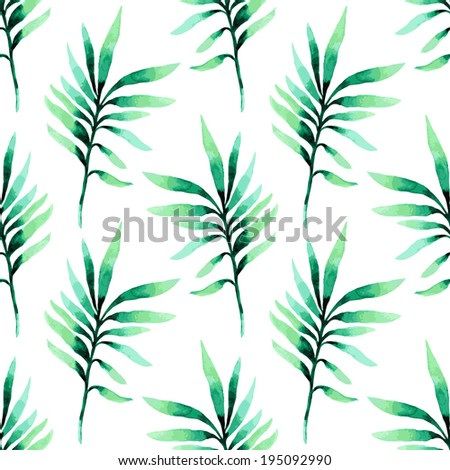 Tropical seamless floral pattern. Seamless  background palm leaves  - stock vector