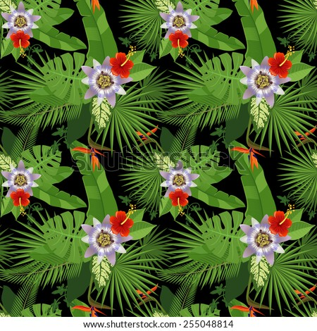 tropical seamless pattern on black background - stock vector