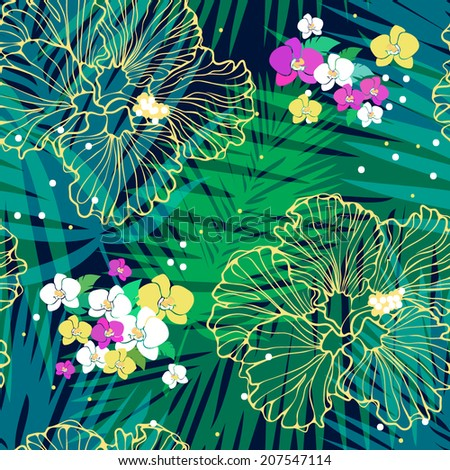 tropical seamless pattern with different flowers - stock vector