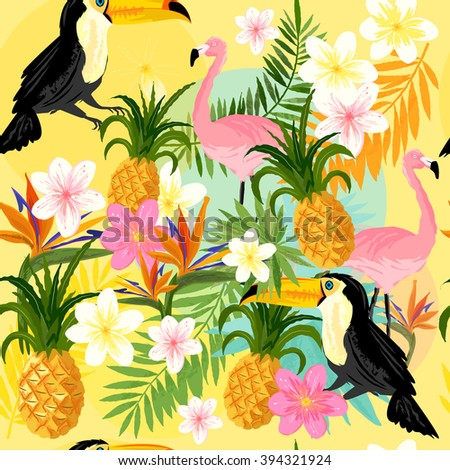 Tropical Seamless Pattern with flamingos, toucans, pineapples and tropical flowers. - stock vector