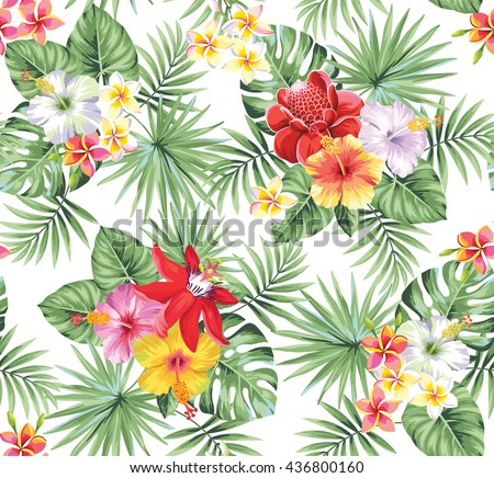 Tropical seamless pattern with palm leaves and flowers. Vector illustration. - stock vector