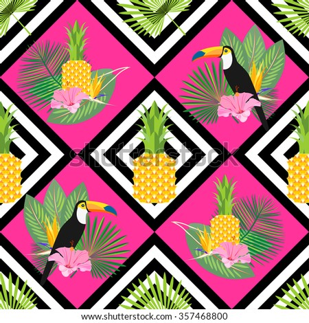 Tropical seamless pattern with palm leaves, pineapple, toucans and exotic flowers. Pink & yellow background. Vector. - stock vector