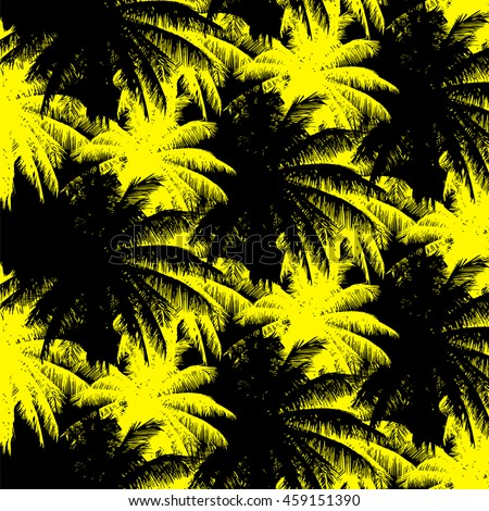 tropical seamless pattern - yellow and black palms on a black background