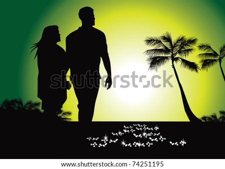 tropical stroll on beach vector