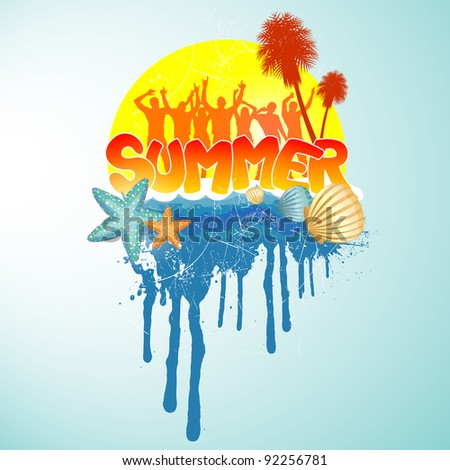 Tropical summer banner - stock vector