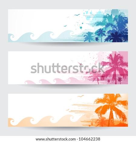 Tropical summer banners design - stock vector