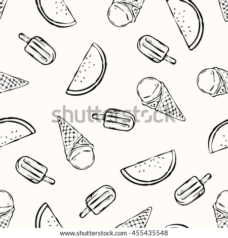Tropical summer print for t-shirt, apparel, textile or wrapping. Pattern with ice cones, popsicles and melon in black and white. Vector is seamless and repeatable.