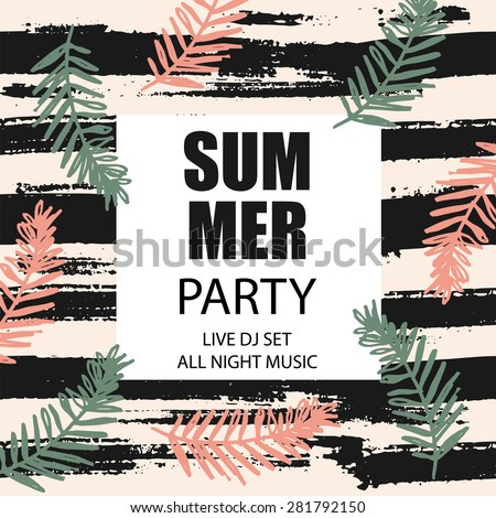Tropical summer print with slogan for t-shirt graphic and other uses. Vector illustration. Poster template. - stock vector