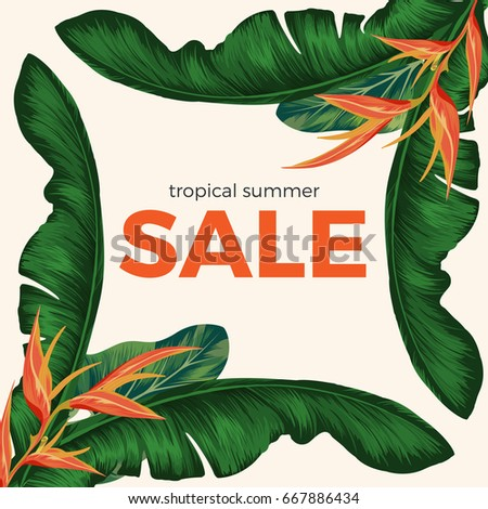 Tropical summer sale promo poster with rainforest plants. bright orange bamboo and big green banana tree leaves in corners of banner vector illustration.