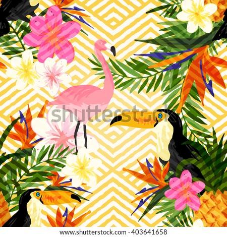 Tropical summer seamless vector. - stock vector