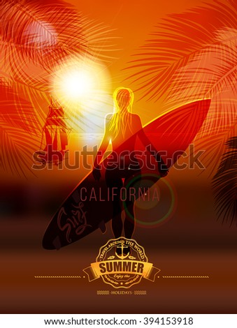 Tropical summer surf poster inscription. Surfer girl on sea background, leaves of the palm in the background. calligraphy, lettering, symbol, logo. Summer tropical vacation. Summer trip. Vacation - stock vector