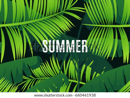 Tropical summer template with green leaves. Season sale vector label.Exotic Floral illustration. Springtime poster. For t-shirt, fashion, prints, banner or packaging design.Eps 10