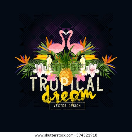 Tropical Summer Vector. Tropic elements including flamingos, Palms, Toucans, Bird of paradise flowers and pineapples - stock vector