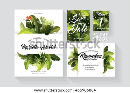 tropical/ summer wedding invitation card/ save the date/ table numbers/ rsvp stationery template vector/illustration
